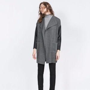 Zara | Faux Leather Sleeve Open Coat Grey Black